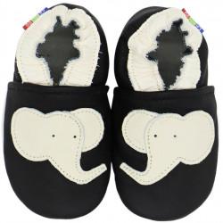 Chaussons cuir bébé Carozoo Elephant