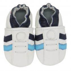 Chaussons cuir bébé Carozoo Tennis bleu