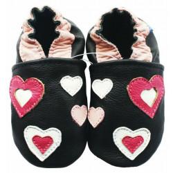 Chaussons cuir bébé Carozoo Coeur rose et blanc