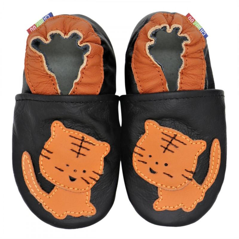 Chaussons cuir bébé Carozoo, Chat orange