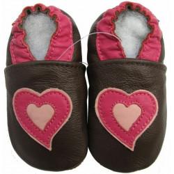 Chaussons cuir bébé Carozoo Coeur