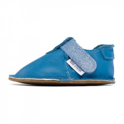 P'tit scratch Bleu jean chaussure cuir souple